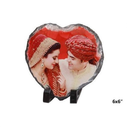 Love shape stone photo frame