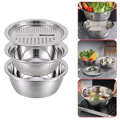 3 In 1 Multifunctional Stainless Steel Basin With Vegetable Cutter + Drain Basket